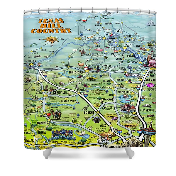 Texas Hill Country Cartoon Map Shower Curtain