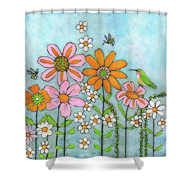 Hummingbird And Bees Shower Curtain
