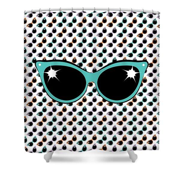 Retro Turquoise Cat Sunglasses Shower Curtain