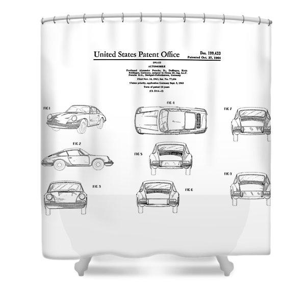 Porsche 911 Patent Shower Curtain