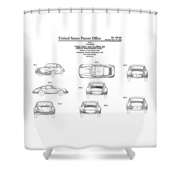Porsche 911 Patent Shower Curtain