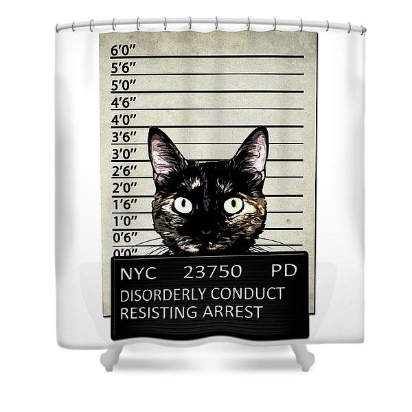 Kitty Mugshot Shower Curtain