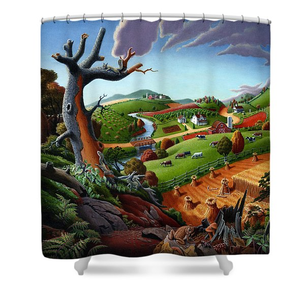 Appalachian Fall Thanksgiving Wheat Field Harvest Farm Landscape Painting - Rural Americana - Autumn Shower Curtain