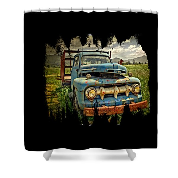 The Blue Classic Ford Truck Shower Curtain