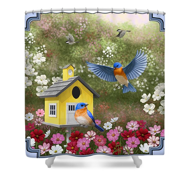 Bluebirds And Yellow Birdhouse Shower Curtain