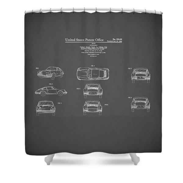 Porsche 911 Patent 1964 Shower Curtain