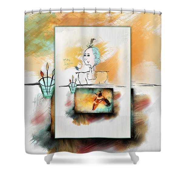 Mrs. Darwin's Theory Of Evolution Self Portrait  Shower Curtain