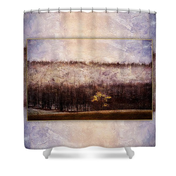 Gold Leafed Tree In Snow Shower Curtain