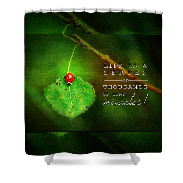 Ladybug On Leaf Thousand Miracles Quote Shower Curtain