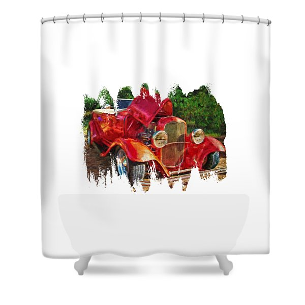 The Red Bell Roadster Shower Curtain