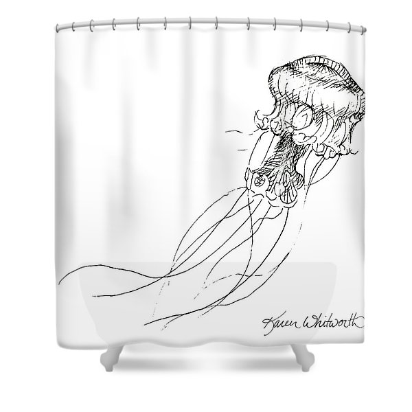 Jellyfish Sketch - Black And White Nautical Theme Decor Shower Curtain