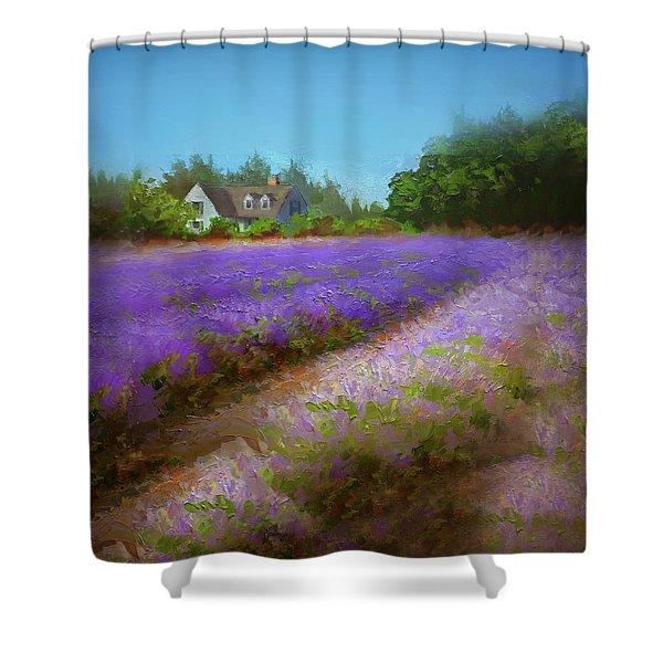 Impressionistic Lavender Field Landscape Plein Air Painting Shower Curtain