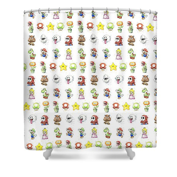 Mario Characters In Watercolor Shower Curtain