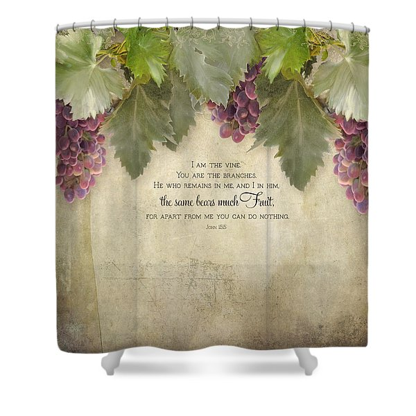 Tuscan Vineyard - Rustic Wood Fence Scripture Shower Curtain