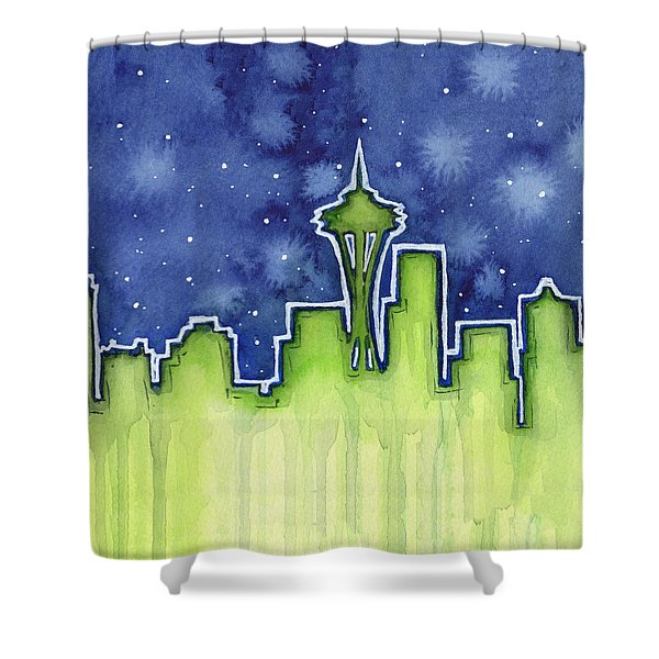 Seattle Night Sky Watercolor Shower Curtain