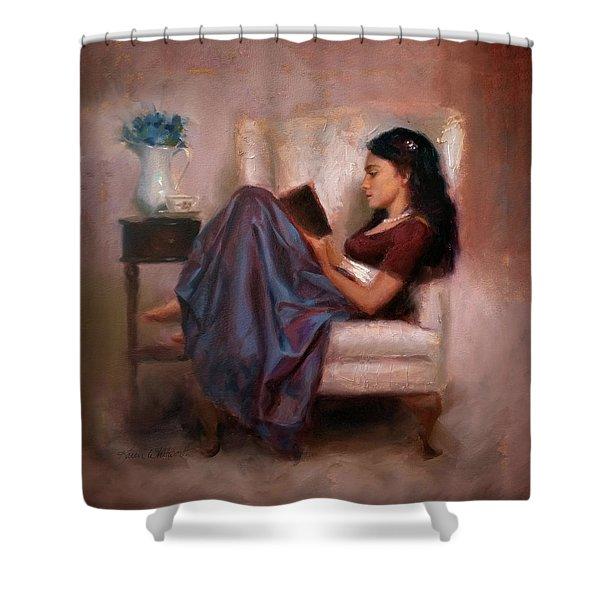 Jaidyn Reading A Book 2 - Portrait Of Woman Shower Curtain