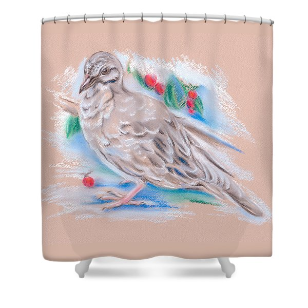 Winter Mourning Dove Shower Curtain