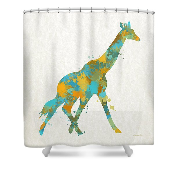 Giraffe Watercolor Art Shower Curtain