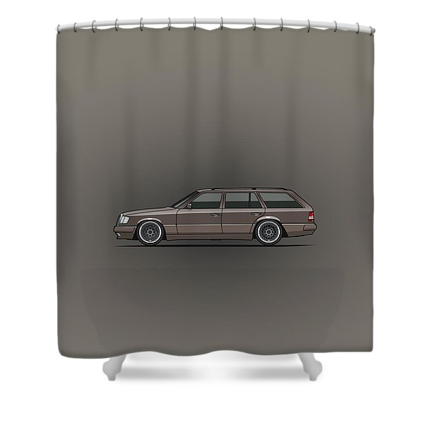 Mercedes Benz W124 E-class 300te Wagon - Anthracite Grey Shower Curtain