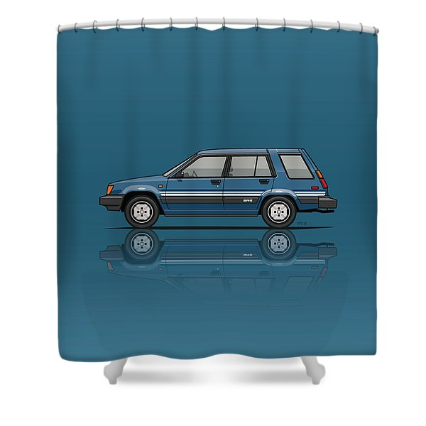 Toyota Tercel Sr5 4wd Wagon Al25 Blue Shower Curtain