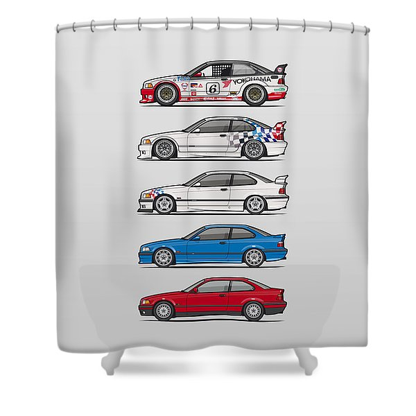 Stack Of Bmw 3 Series E36 Coupes Shower Curtain