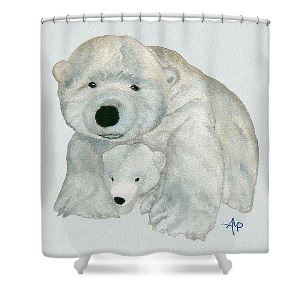Cuddly Polar Bear Watercolor Shower Curtain