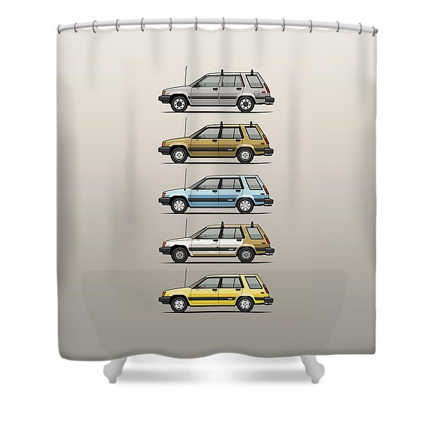 Stack Of Mark's Toyota Tercel Al25 Wagons Shower Curtain