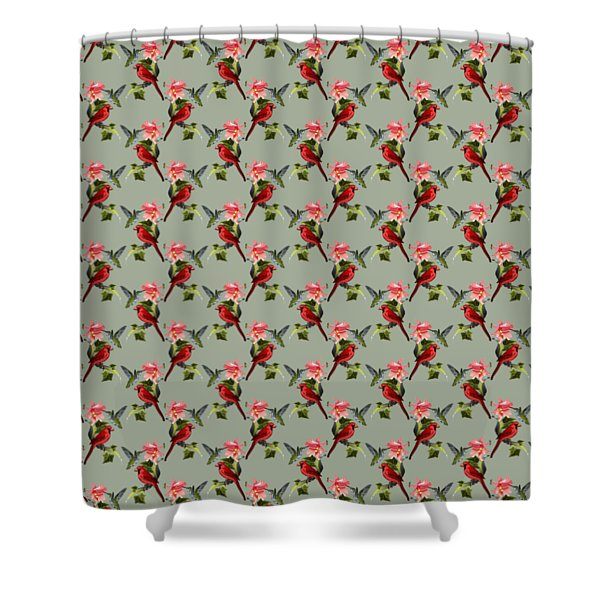 Cardinal On Ivy Branch With Hummingbird And Pink Lily Shower Curtain