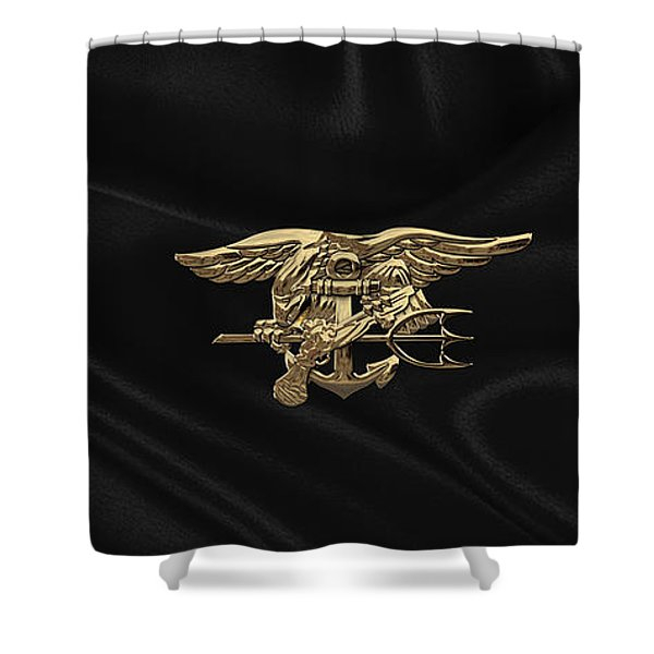 U.s. Navy Seals Trident Over Black Flag Shower Curtain
