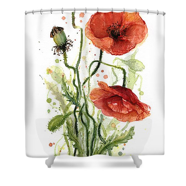 Red Poppies Watercolor Shower Curtain