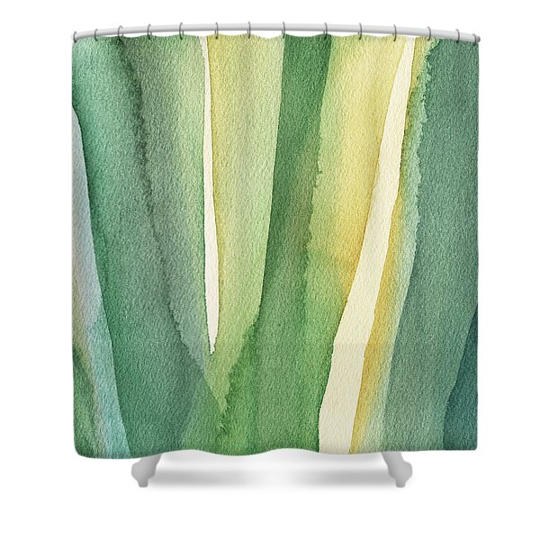 Green Teal And Yellow Abstract Shower Curtain