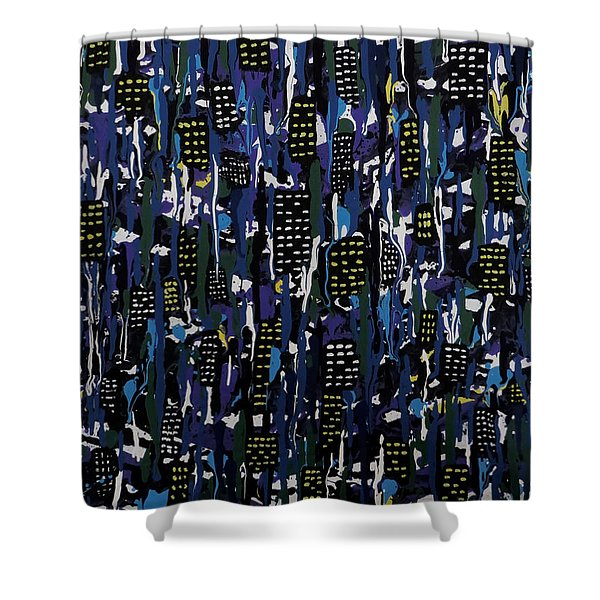 Stormy Night In The City Shower Curtain