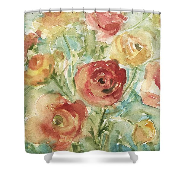 Red Orange And Yellow Ranunculus Shower Curtain