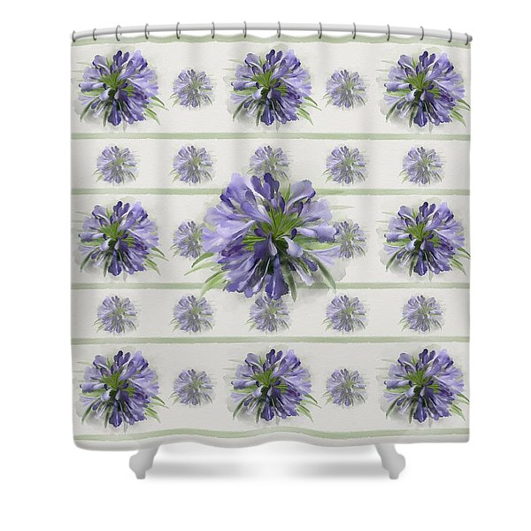 Blue Purple Flowers Shower Curtain