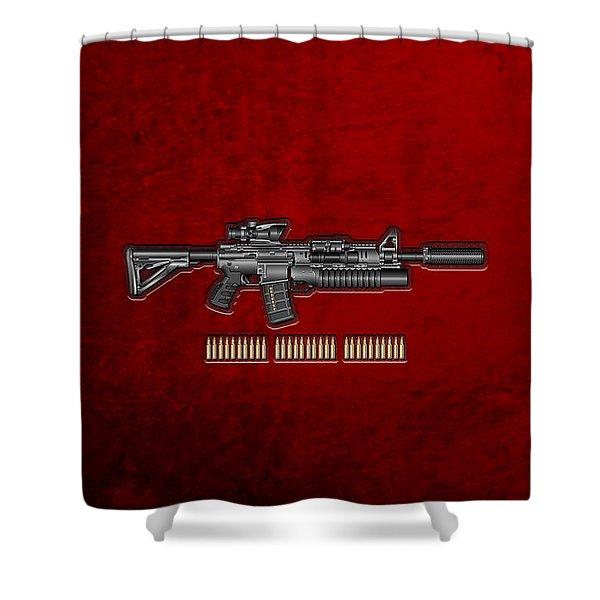 Colt  M 4 A 1  S O P M O D Carbine With 5.56 N A T O Rounds On Red Velvet  Shower Curtain