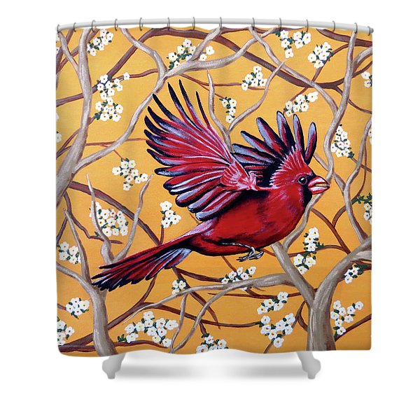 Cardinal In Flight Shower Curtain