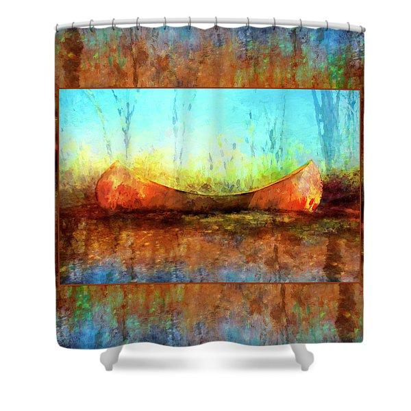 Birch Bark Canoe Shower Curtain