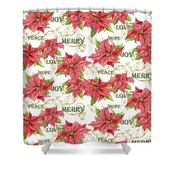 Elegant Poinsettia Floral Christmas Love Joy Peace Merry Hope Typography Swirl Shower Curtain