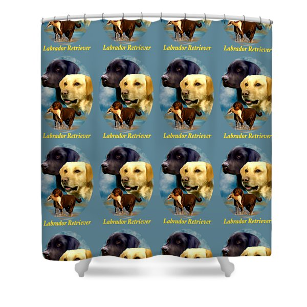 Labrador Retriever With Name Logo Shower Curtain