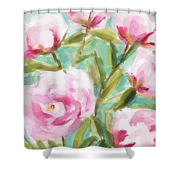 Pink Peony Branches Shower Curtain