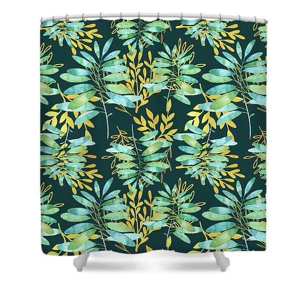 Golden Summer Leaves Pattern Shower Curtain