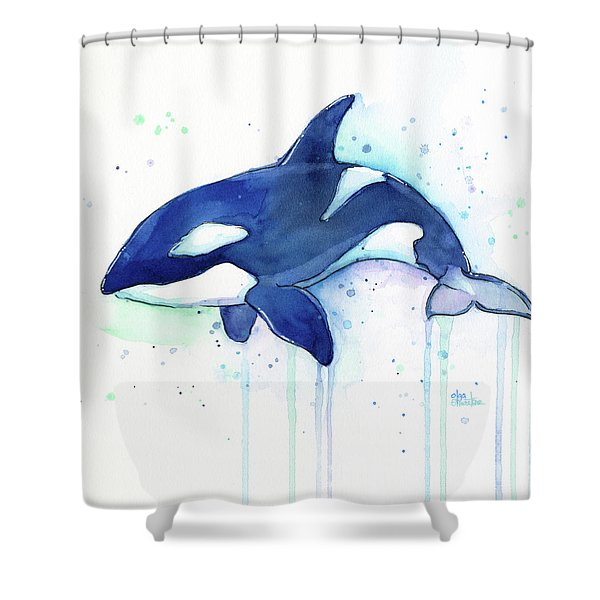 Kiler Whale Watercolor Orca  Shower Curtain
