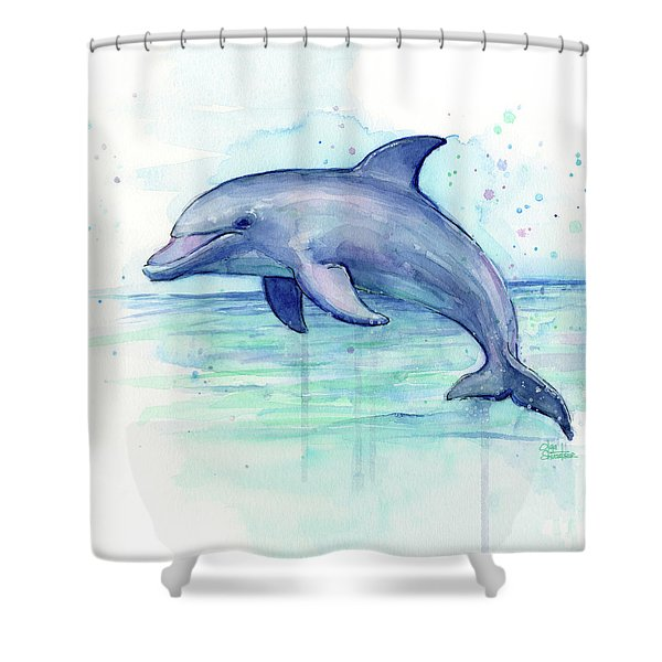 Dolphin Watercolor Shower Curtain