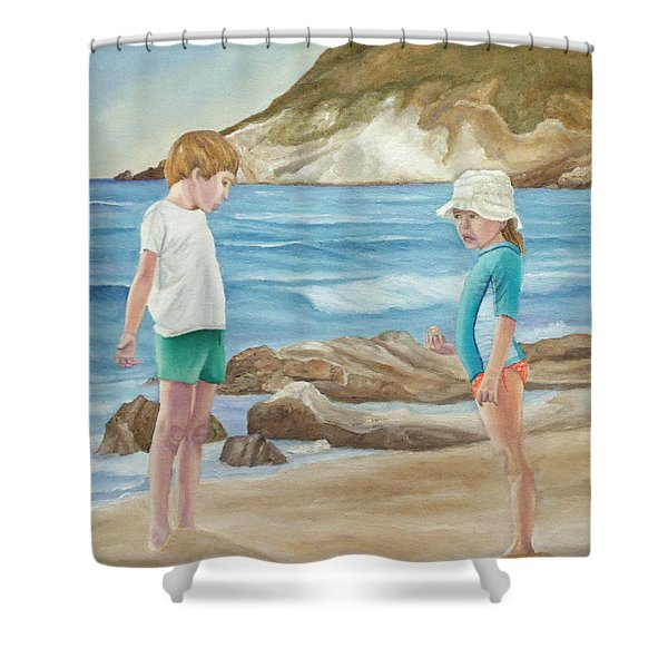 Kids Collecting Marine Shells Shower Curtain