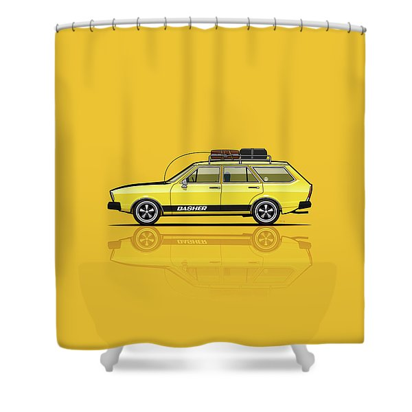 Saturn Yellow Volkswagen Dasher Wagon Shower Curtain
