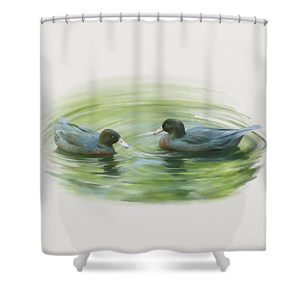 Blue Ducks  Shower Curtain