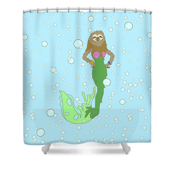Sloth Mermaid Shower Curtain