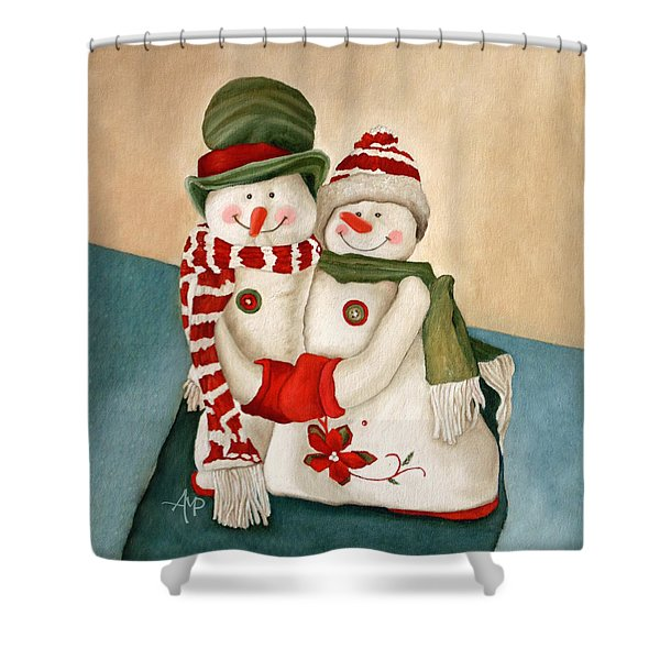 Mr. And Mrs. Snowman Vintage Shower Curtain