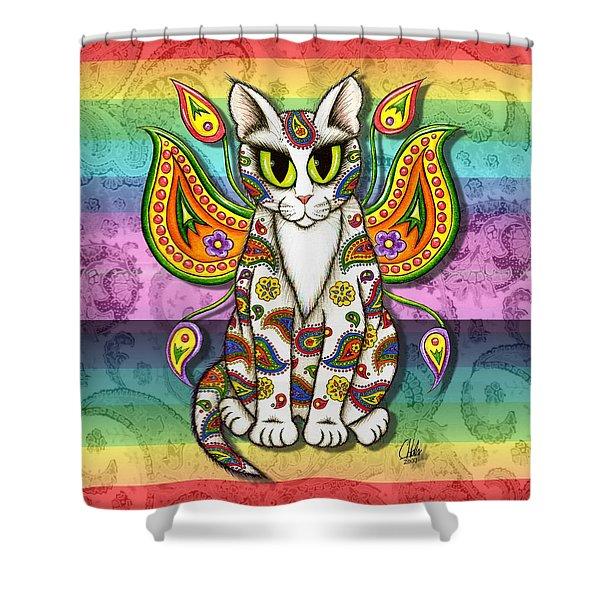 Rainbow Paisley Fairy Cat Shower Curtain