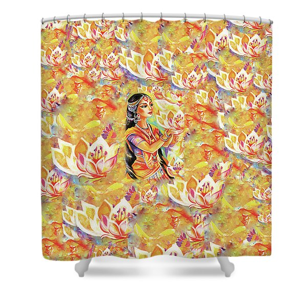 Pray Of The Lotus River Shower Curtain
